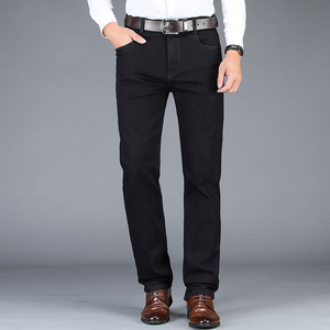 Image 5 - 2020 New Autumn Winter Mens Stretch Jeans Business Casual Classic Style Trousers Black Gray Straight Denim Pants Male Brand