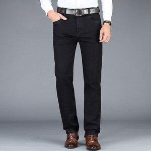 Image 5 - Pantalones vaqueros elásticos para hombre, pantalón informal de estilo clásico, de negocios, color negro y gris, para otoño e invierno, 2020