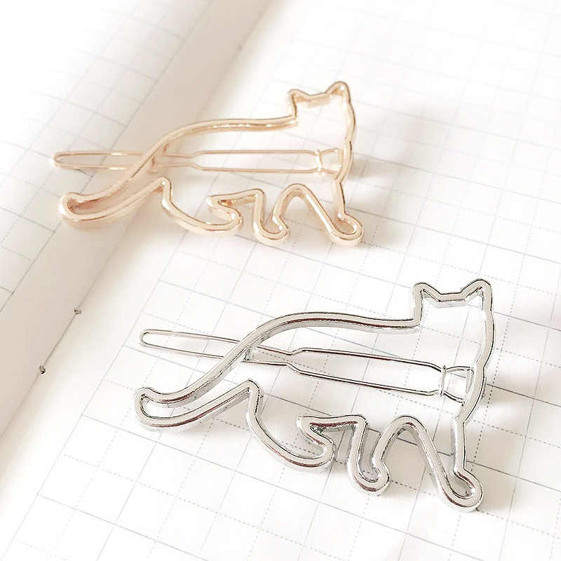 Fashion Simple Woman Metal Geometric Cute Alloy Cat Circle Hairgrip Barrette Girl Holder Hair Accessories Triangle Hair Clip Pin