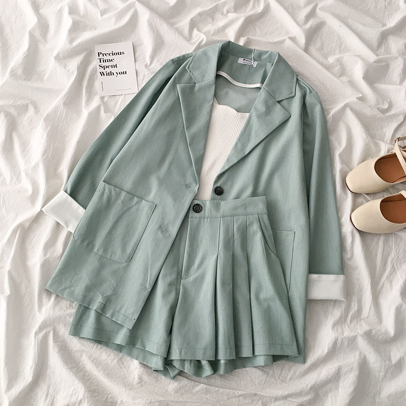 Spring Formal Suit Set Women Casual V-neck Long Sleeve Oversize Jacket + High Waist Wide Leg Short Green Matching Set