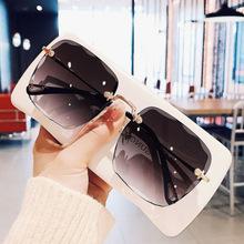 2020 nowe bezramowe cut edge square okulary przeciwsłoneczne damskie koreańskie wersje czerwone okrągłe twarz zwykłe okulary przeciwsłoneczne tanie tanio MOSILIN CN (pochodzenie) WOMEN Bez oprawek Dla dorosłych Tytanu UV400 Szkło 6091