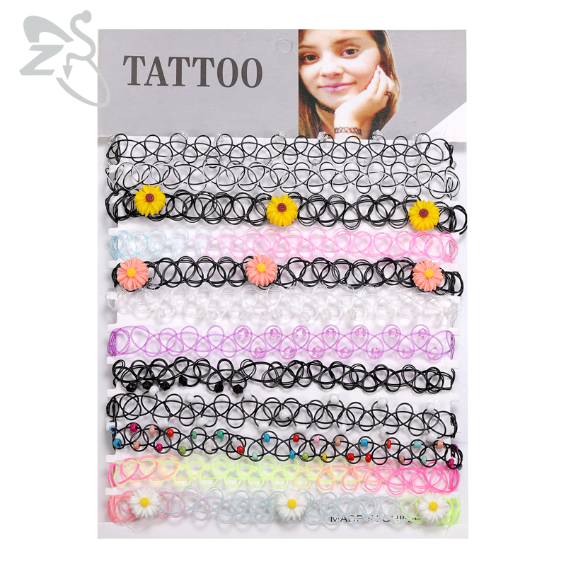 ZS 12Pcs Vintage Stretch Choker Necklace Lady Girl Tattoo Choker Necklace Punk Retro Gothic Elastic Necklaces for Women