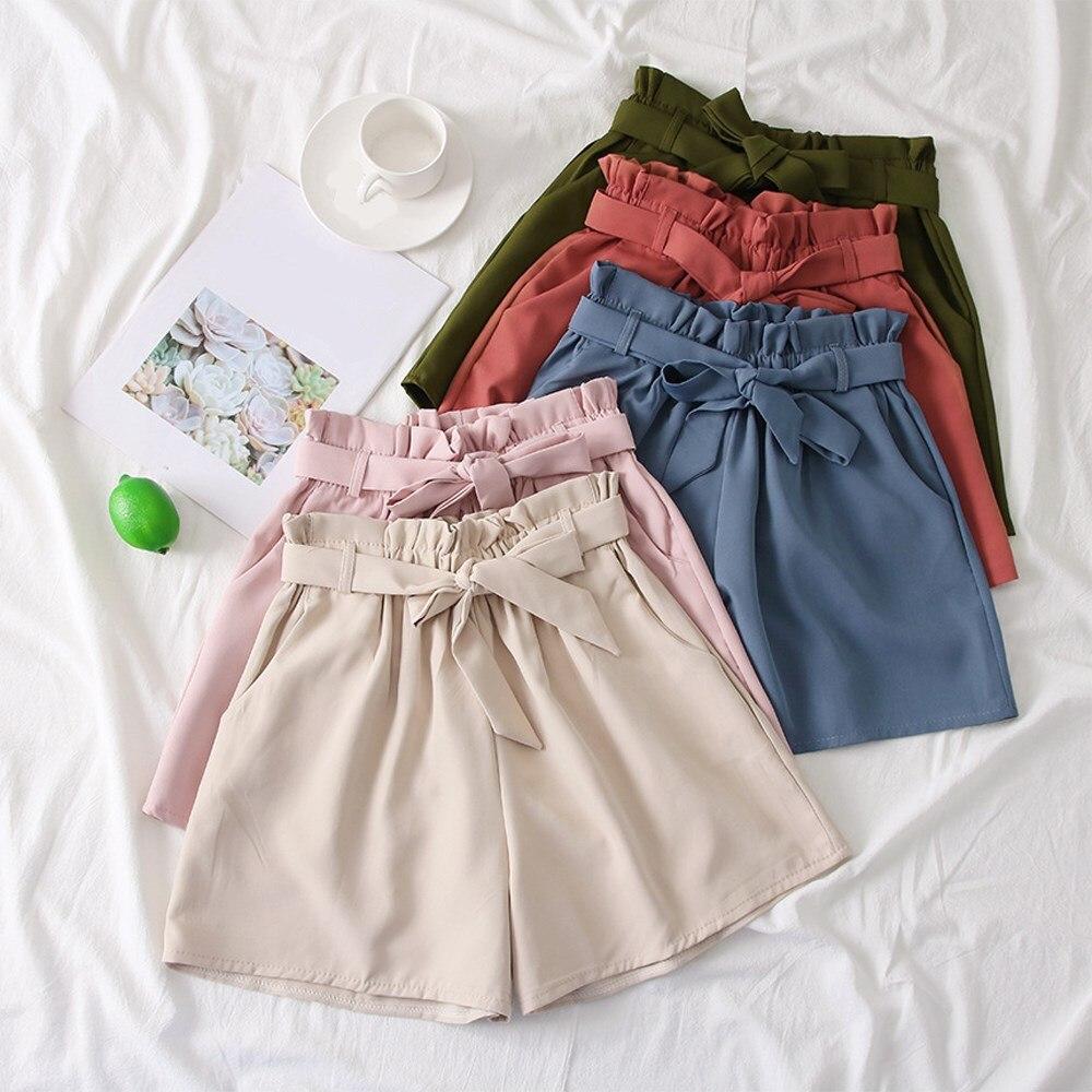 Bella Estate Della Cinghia Delle Donne pantaloni Larghi del Piedino shorts Coreano A Vita Alta Arco Allentato shorts Lace Up Solid casual shorts - 3