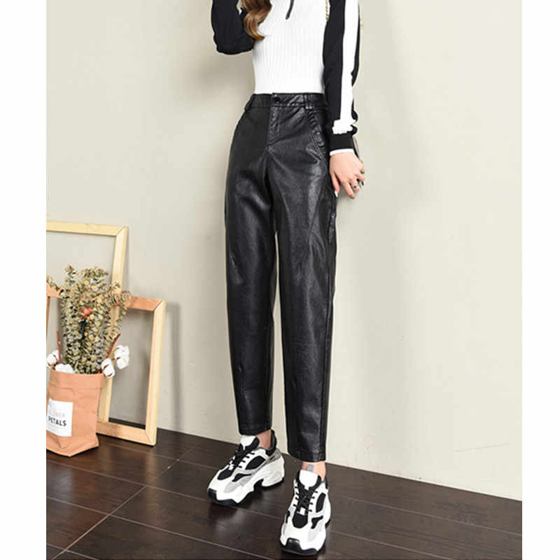 JUJULAND Autumn Brand New Women PU Leather Pants High Waist Leather Ladies Trousers Winter Pants Harem Pants Pantalon 5547