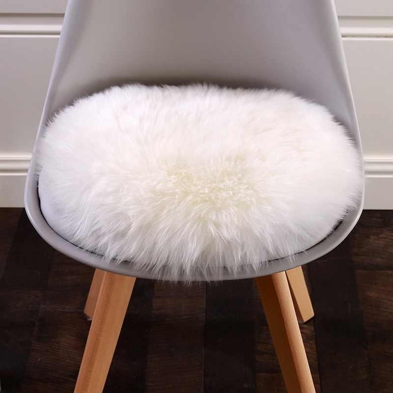 1pc sztuczna skóra owcza dywan pokrowiec na krzesło mata do sypialni sztuczna wełna ciepły włochaty dywan siedzenia Textil dywaniki z futra 30/50/60/90cm
