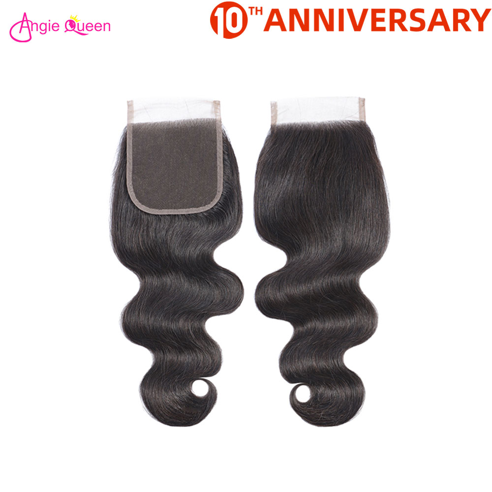 ANGIE QUEEN Brazilian Hair Closure 100% Human Non Remy Hair Closure Body Wave Hair Closure 150% 8-20inch Closure Hair Extension