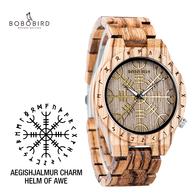 BOBOBIRD Wooden Watch With Helm Of Awe Aegishjalmr Or Vegvisir And Runic Compass Personalized Watch часы мужские