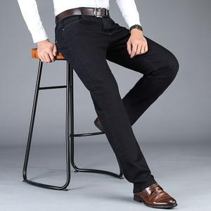 Image 5 - 2020 新秋冬メンズストレッチジーンズビジネスカジュアル古典的な風のズボン、黒グレーストレートデニムパンツ男性ブランド