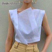TWOTWINSTYLE Irregular Short Women's Shirt Skew Collar Sleeveless Summer Elegant Blouses Female 2019 Fashion Clothing Tide