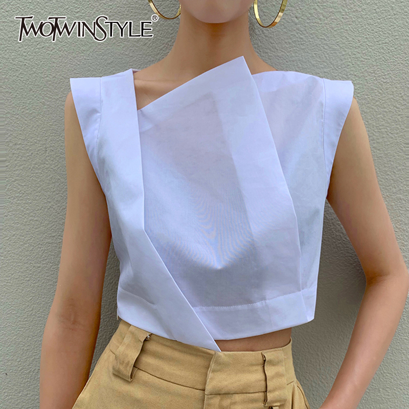 TWOTWINSTYLE Irregular Short Women's Shirt Skew Collar Sleeveless Summer Elegant Blouses Female 2020 Fashion Clothing Tide