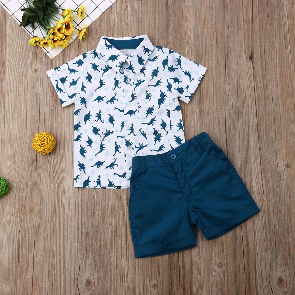 Emmababy Summer Toddler Baby Boy Clothes Dinosaur Print Shirt Tops Short Pants 2Pcs Outfits Casual Clothes Summer