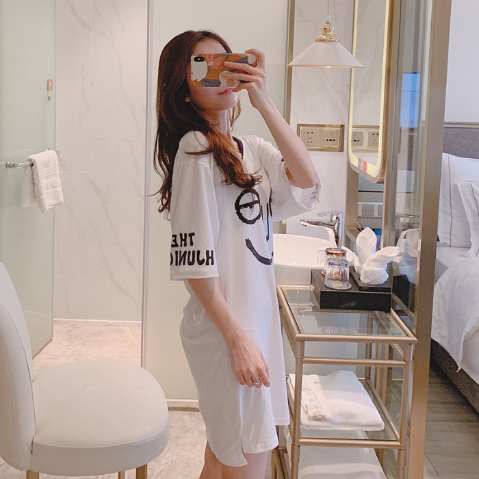 Qmilch Nightgown Summer Pajamas Half-sleeve Shirt V-neck Mid-length Solid Color Lettered Funny Expression Dress