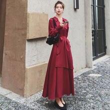 Женское осеннее повседневное тонкое платье с длинными рукавами