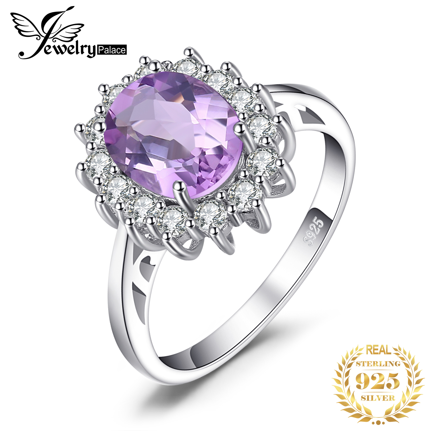 JewPalace Princess Diana Genuine Amethyst Ring 925 Sterling Silver Rings For Women Engagement Ring Silver 925 Gemstones Jewelry
