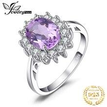 JewPalace Prinzessin Diana Echte Amethyst Ring 925 Sterling Silber Ringe für Frauen Engagement Ring Silber 925 Edelsteine Schmuck