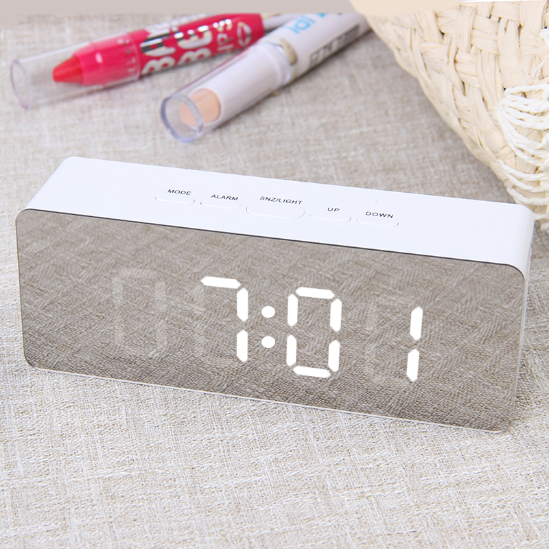 JULY'S SONG Digital Mirror LED Alarm Clock Night Lights Thermometer Wall Clock Lamp Square Rectangle Multi-function Desk Clocks