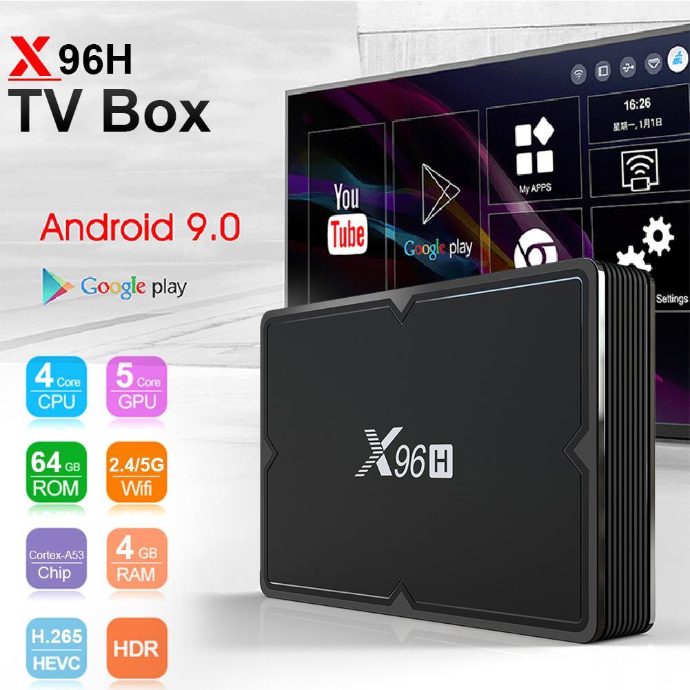 Boîtier TV X96H système Android 9.0 double prise en charge HDMI décodeur HD lecteur réseau # CO