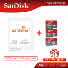 Ezshare אלחוטי wifi מתאם + Sandisk Ultra 8GB 16gb 32gb class10 microsd wifi אלחוטי TF כרטיס מיקרו SD כרטיס זיכרון כרטיס