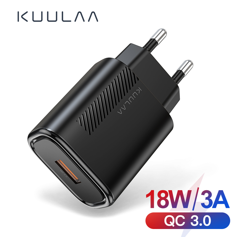 KUULAA Quick Charge 3.0 QC 18W USB Charger For Xiaomi Redmi Note 8 7 QC3.0 Fast Charging USB Wall Phone Charger For Samsung S10