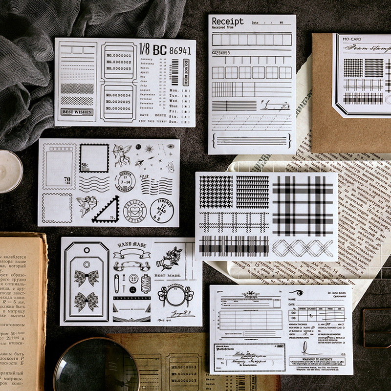 DEHMJJ Vintage Collage Seal Handmade Planner Postmark Decoration Rubber Stamp Set For DIY Scrapbook Decoration Embossing