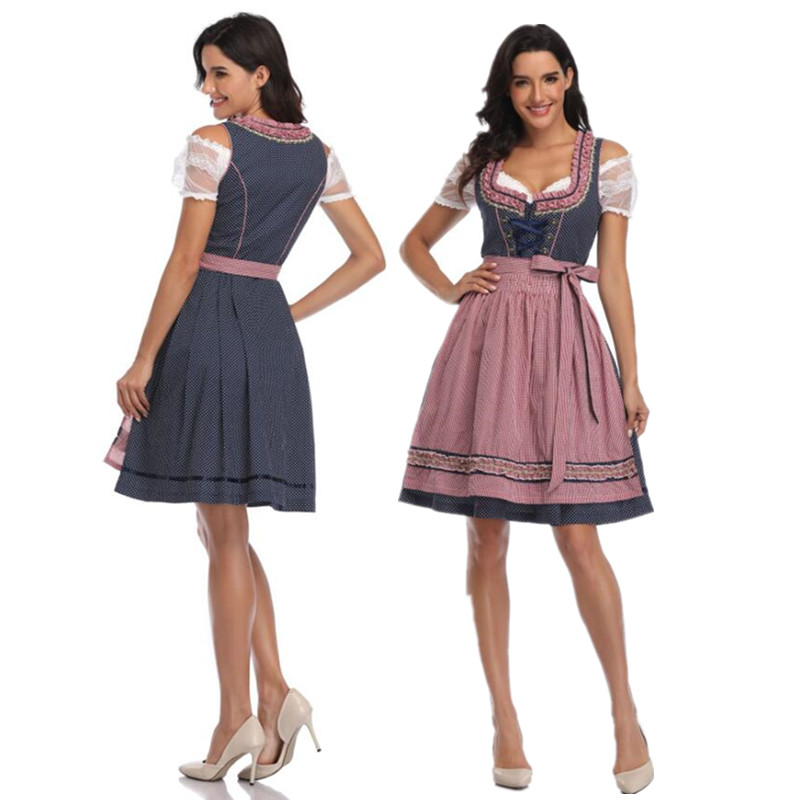 2018 High Quality Germany Bavarian Oktoberfest Beer Girl Costume Maid Wench Fancy Dress Dirndl For Adult Women
