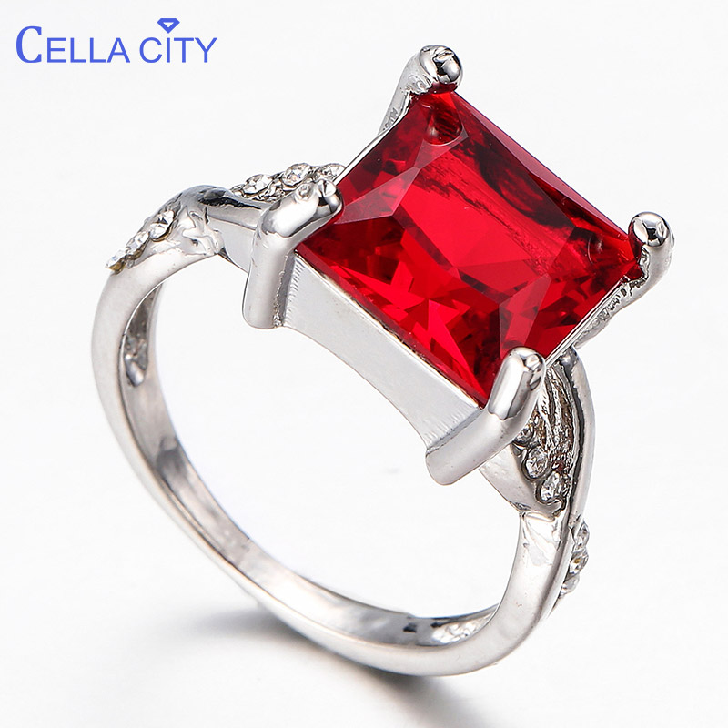 Cellacity  Classic  Square Ruby Gemstone  Ring For Women Silver 925 Jewelry Fashionable Female Wedding Party Gift Size 6-10