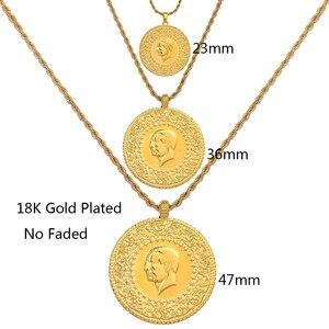 Image 2 - Colgante musulmán de tres tamaños con diseño turco, collar con colgante musulmán turco de Color dorado con monedas, joyería étnica