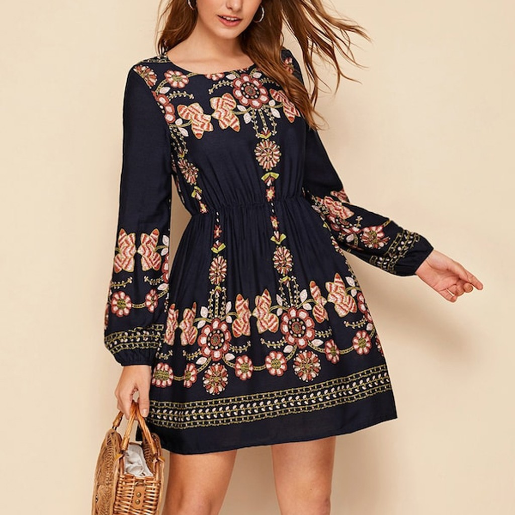 vestido de mujer Womne Bobo O-Neck Fashion Embroidery  Long Sleeve Mini Dress femme robe платье 2021