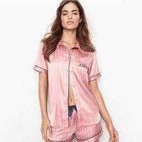 Pijama de seda satinada a rayas para mujer, conjunto de 2 piezas, Tops para dormir, pantalones, ropa de noche, ropa de descanso, traje para casa