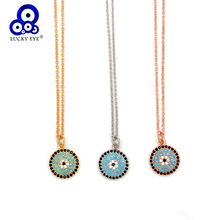 Lucky Eye Turkish Round Evil Necklace Rose Gold Silver Color Micro Pave Zircon Pendant Gift for Women Female EY6408