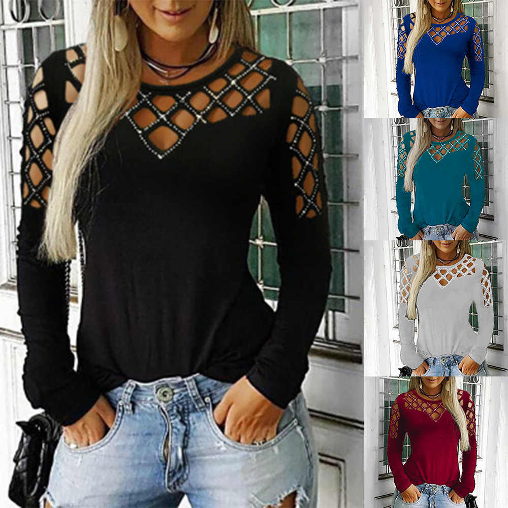 2019 Sexy Women Tops Tees Autumn Long Sleeve Hollow Out T Shirt Women Black Shinny Top Casual Basic T-shirt Beach