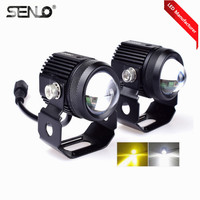 2019 Updated Led Headlight Work Fog Light 15W 24V Dual Color High Beam for BA20D H4 T19 Moto ATV SUV Jeep Tractor Yacht Truck M1