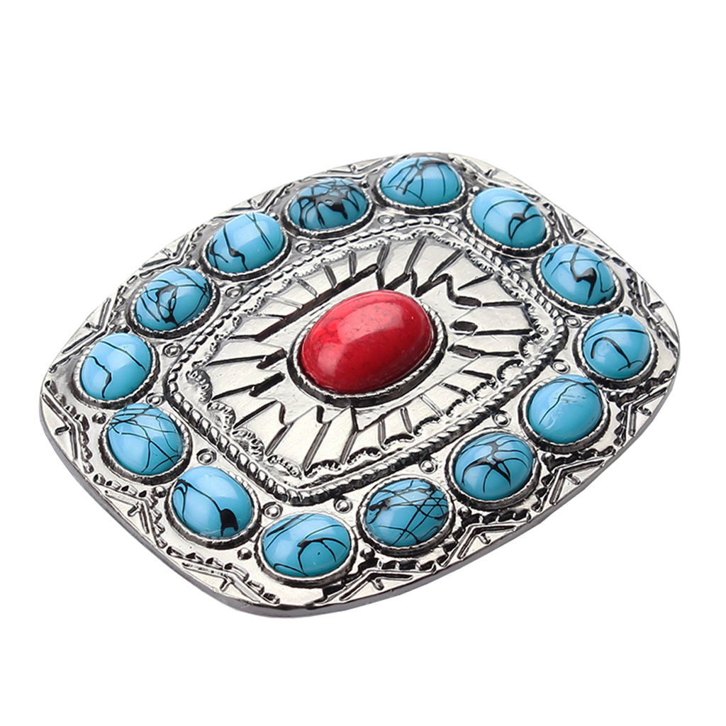 Turquoise Belt Buckle With Cabochon India Cowboy Clothing Accessories