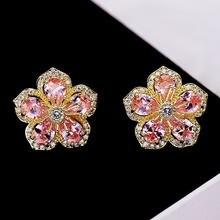 Блестящие серьги гвоздики в форме цветка с кристаллами для девочек