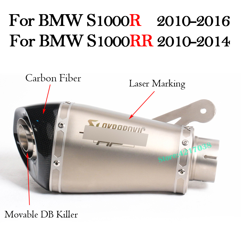 60MM Motorcycle Exhaust Muffler With DB Killer Laser Marking Slip on For BMW S1000R 2010 2016