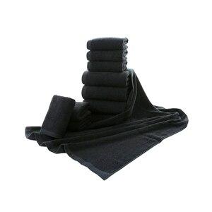 Image 3 - Toalla facial negra de algodón para peluquería, sin decoloración personalizada con bordado Toalla de baño, toalla de Playa Grande para hombre, regalo corporativo