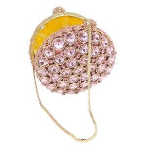 Image 5 - Boutique De FGG Socialite Hollow Out Round Hardcase Women Pink Crystal Evening Purse Wedding Party Prom Handbag Clutch Bag