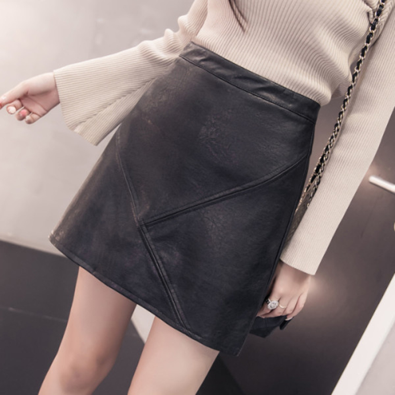 Image 2 - 2019 New Arrival Autumn Winter Sexy Lady Skirts Women Trend Solid PU Faux Leather Skirt Mini Female Invisible Zipper skin Skirts-in Skirts from Women's Clothing