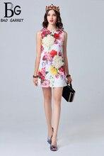 Baogarret 2019 Fashion Runway Summer Dress Womens Sleeveless Casual White Floral Print Appliques Elegant Short