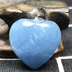 Image 4 - Natürliche Blaue Aquamarin Anhänger Für Frauen Mann Kristall 925 Silber 23x10mm Herz Form Perlen Stein Halskette Anhänger schmuck AAAAA