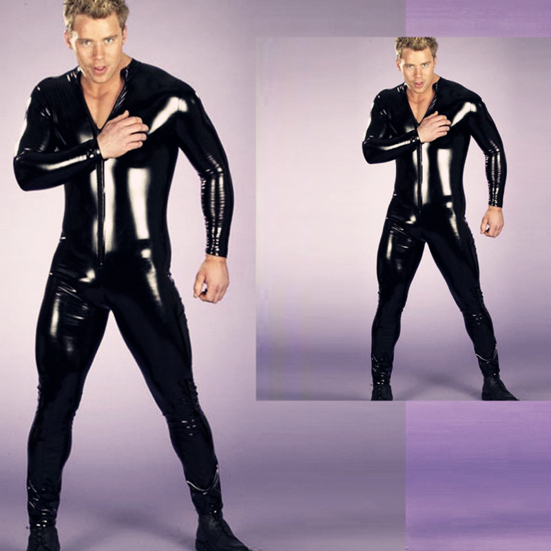 Plus Size Mens Fetish Latex Men Full Sleeved Tight Thin Bodysuit Catsuit Club Hot Dance Outfit Stripper Stage Performance S-3XL