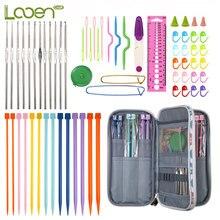 Looen Knitting Needles Set 0.6mm-1.9mm Crochet Hooks 4.0mm-10.0mm DIY Yarn Weave Hook With Case