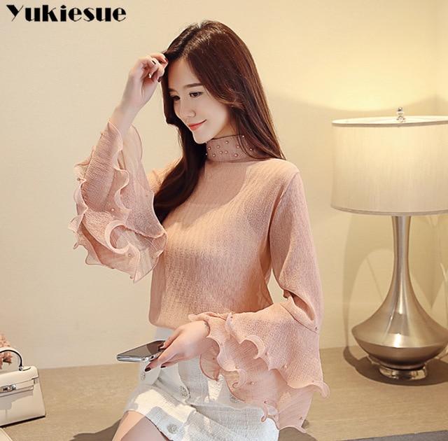 fashion womens blouses beading pink chiffon blouse shirt long sleeve women shirts womens tops and blouses blusas femininas 2