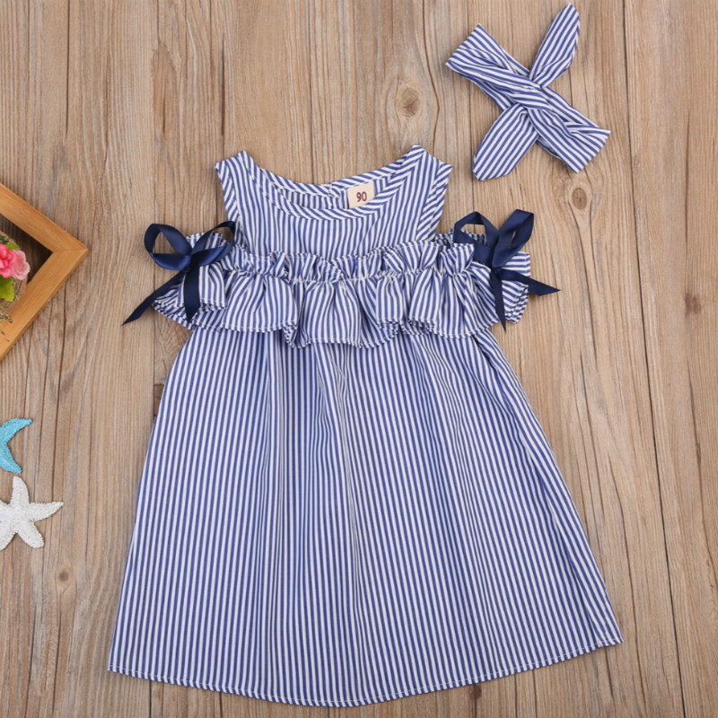 Hot 2018 New Summer Dress Toddler Kids Baby Girls Lovely Birthday Clothes Blue Striped Off-shoulder Ruffles Party Gown Dresses(China)