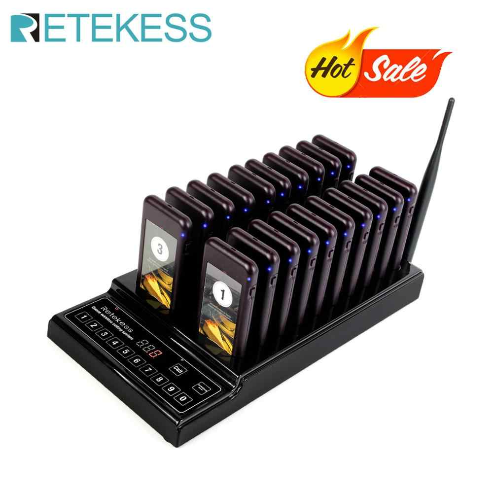 Retekess T112 999 Channel Wireless Paging Queuing System Restaurant Pager 1 Transmitter + 20 Coaster Pagers Restaurant Equipment