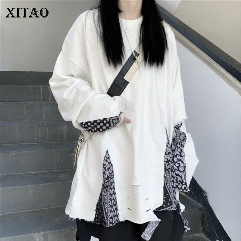 XITAO Irregular Sweatshirt Fashion New Women Patchwork Pullover Full Sleeve 2020 Autumn Elegant Casual Style Sweatshirt ZP2122 1