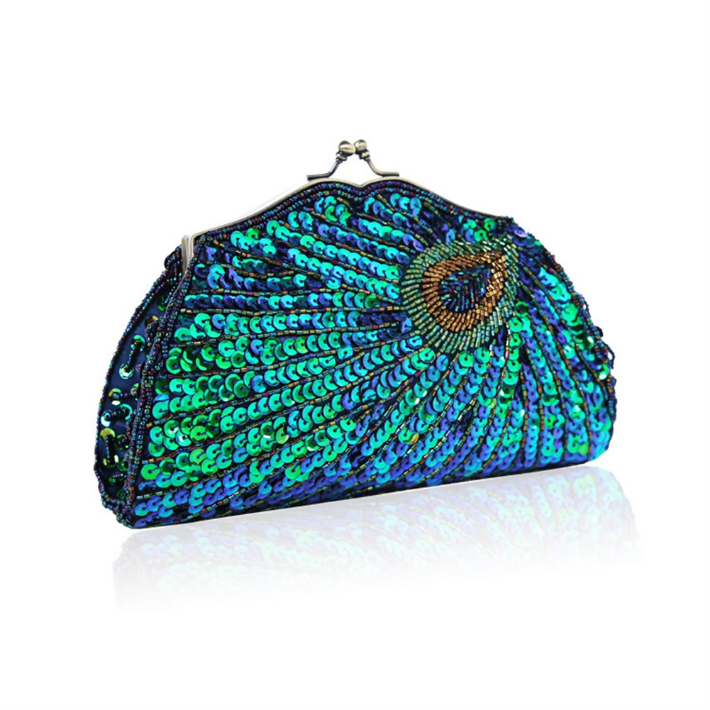 Glitter Shinny Clutch Bag Luxury Peacock Pattern Evening Bags Designer Ladies Banquet Clutches Elegant Shoulder Bags Party Pouch