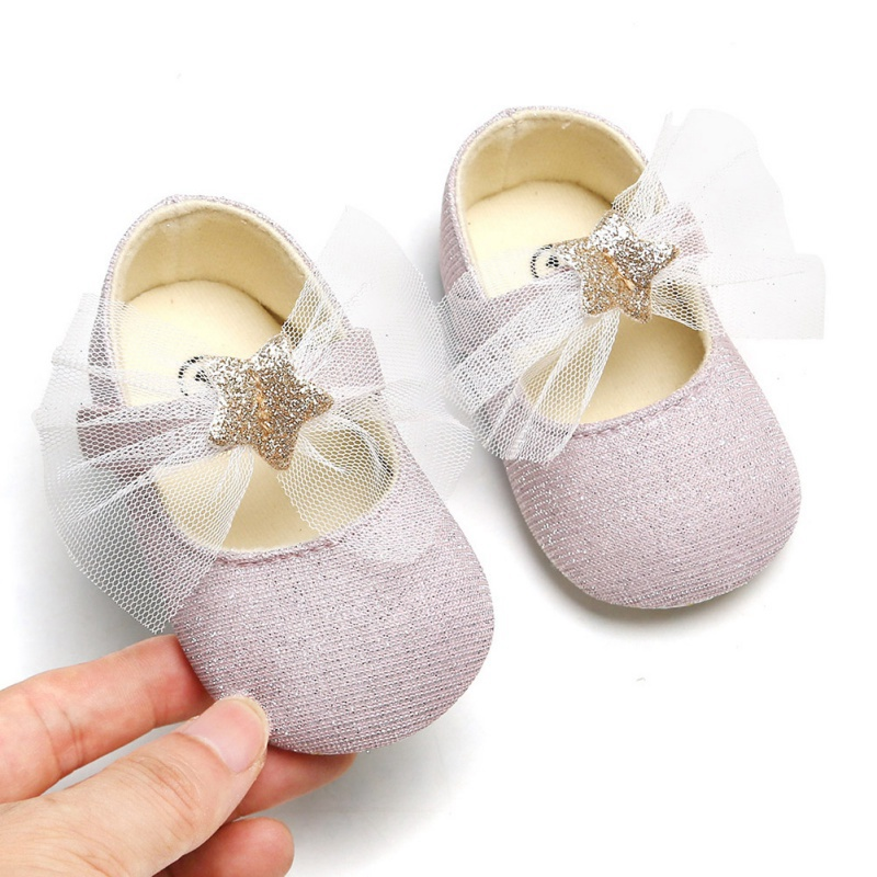 Hot Baby Girl Shoes Bow Shiny Star Princess Baby Shoes First Walkers Soft Sole Newborn Baby Prewalker