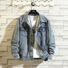 Autumn New Hole Denim Jacket Men Fashion Wash Retro Casual Denim Jacket Coat Man Streetwear Hip Hop Bomber Jacket Male Clothes недорого