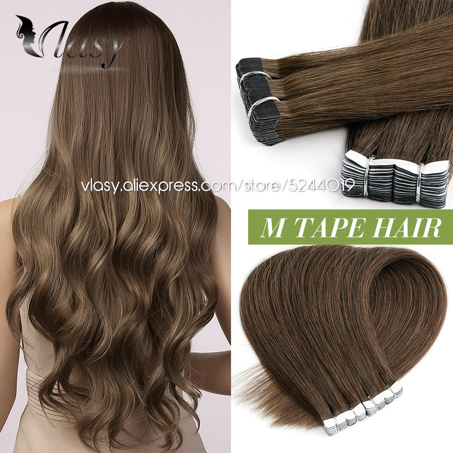 Vlasy 10''-24'' Mini Tape In Human Hair Extensions Straight Natural Human Hair Seamless Invisible Skin Weft Glue On Hair 20PCS